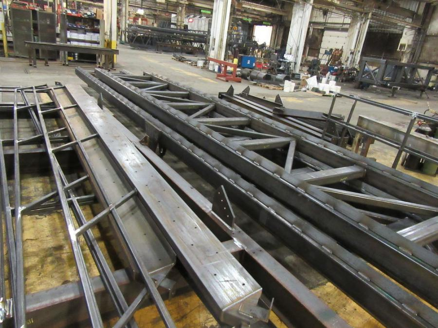 One of Midwest Mine Service's custom conveyors in the process of fabrication on the manufacturing floor.