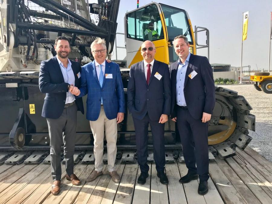 (L-R) are Steve Filipov, president, Terex Cranes; Greg Aertssen, CEO, Aertssen Group; Tony Nuyts, branch manager, Aertssen Machinery Services; and Joerg Mueller, senior sales manager, Terex Cranes.