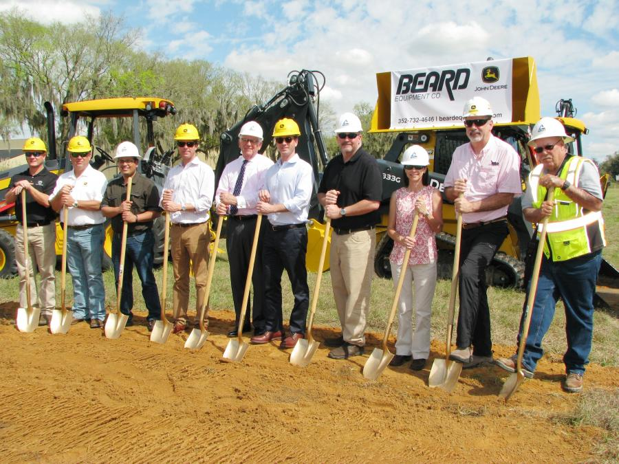 Taking part in the groundbreaking at Beard Equipment Company's new Ocala, Fla., facility (L-R) are Chris Wood, sales manager, Beard Equipment Company; Stan Salser, Salser Construction, Ocala; Gilbert Martinez, facility architect at Martinez Architecture, Ocala; Drew DeLaney, president, Beard Equipment; Ocala Mayor Kent Guinn; John Dodson, Beard COO; Steve Ausley and Aimee Johnson of Ausley Construction, Ocala; Gary Coffman, Beard Equipment; and Terry Forth, Ausley Construction.