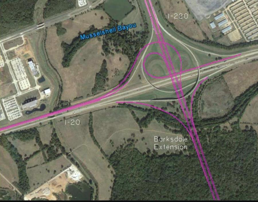 A map of the proposed I-20/220 interchange upgrades.