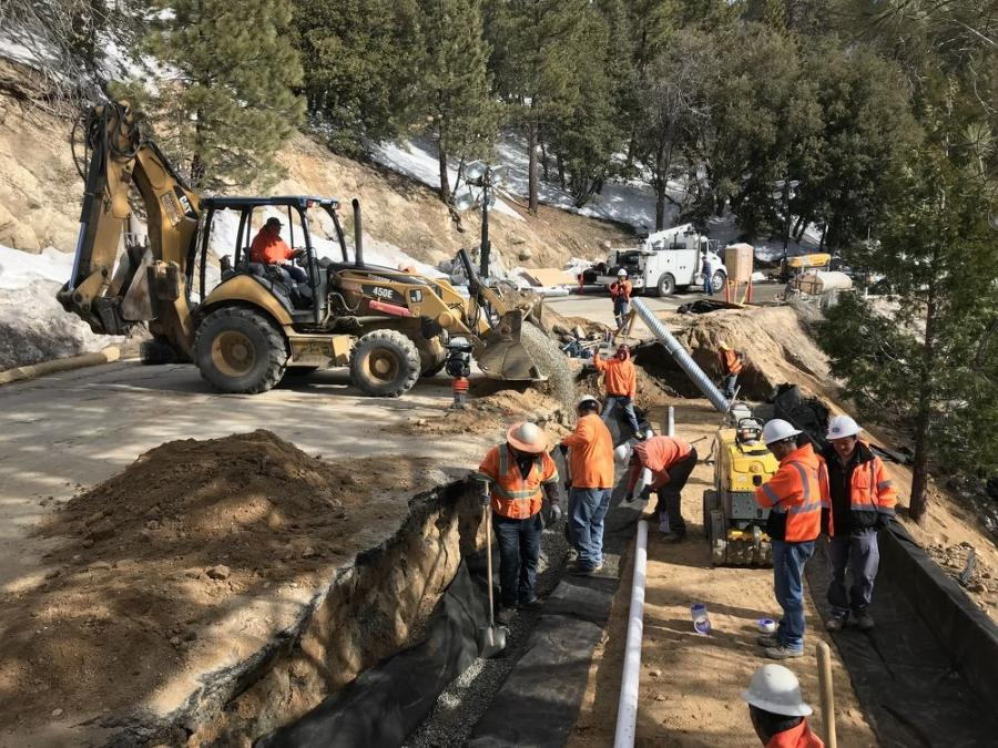 Crews must repair sections of the road bed, with slope loss under the road.  (Caltrans photo)