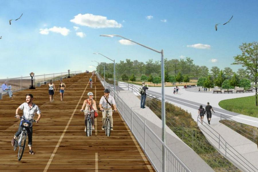 Rendering of the Staten Island Seawall  