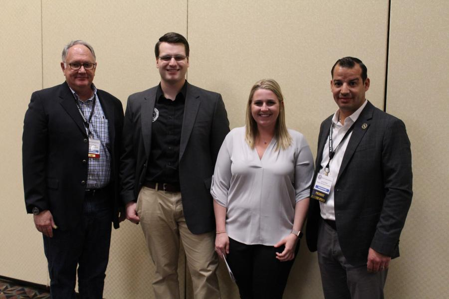 IAAP 2019 scholarship recipients Rich Howser (second from L) and Kensington Kissel (third from L) pose with Hugh Gallivan (L) of Mid-America Sand & Gravel, chair of the IAAP's Education Foundation, and Aaron Ozinga of Ozinga Materials & Logistics, IAAP president. Not pictured are scholarship winners Abigail Knight, Joshua Malone and Madeline Meyer.
