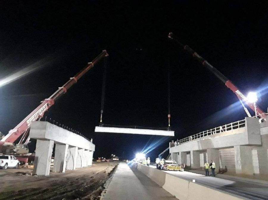 In February, construction crews with Connect 202 Partners, the developer of the South Mountain Freeway, set the remaining 32 girders for the Dobbins Road interchange, one of 15 interchanges on the project. (ADOT photo)