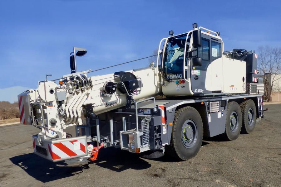 CraneWorks' new Demag AC 45 City has a main boom length of 102.4 ft. (31.2 m) and a maximum system length of 145 ft. (44.2 m) to give it plenty of lifting height and reach whether operating outside or inside.