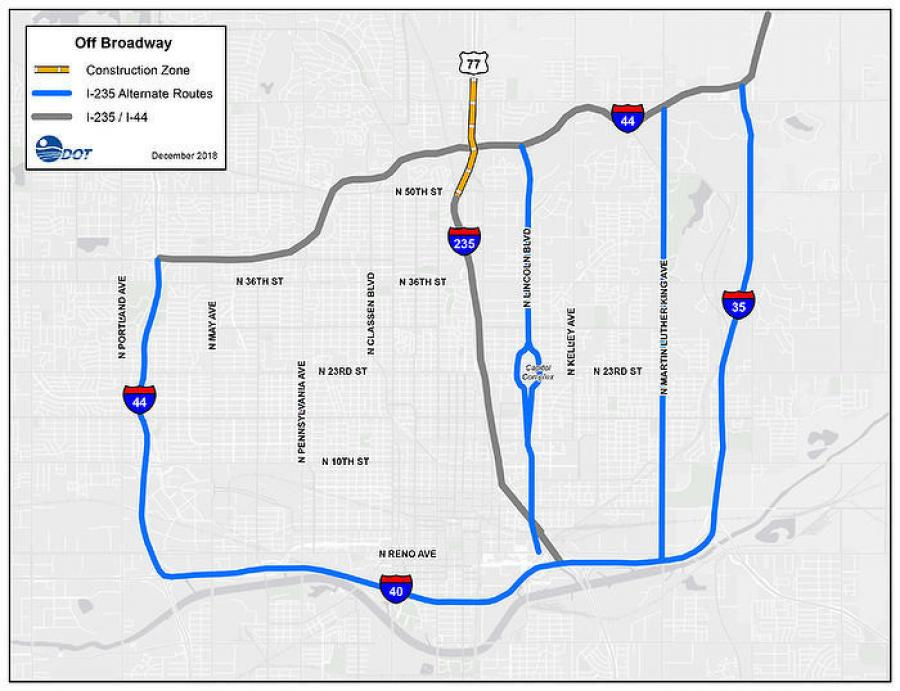 Off Broadway detour routes to avoid the I-235 and I-44 interchange reconstruction include I-35, I-40, SH-74/Lake Hefner Parkway, N. Lincoln Boulevard and Martin Luther King Jr. Boulevard/Eastern Avenue in Oklahoma City.