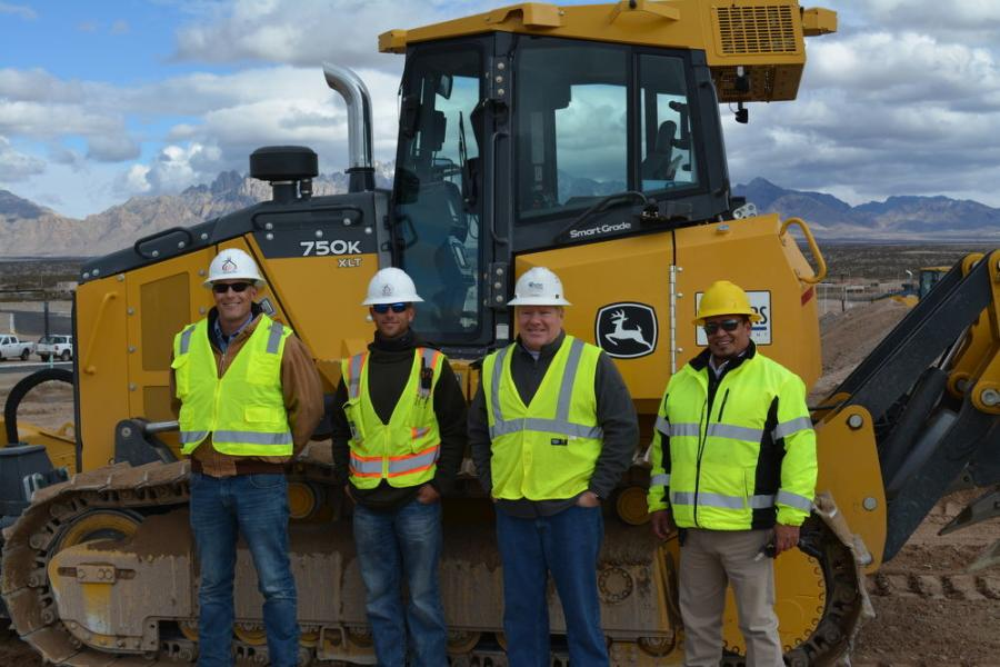 The partnership between Caliper and its equipment supplier, 4Rivers Equipment, is an important asset to the excavating contractor, which does business throughout New Mexico and West Texas.  (L-R) are Caliper's Jeremy McVay and Russell Mehan, along with Thad Bennett and Saul Garcia of 4Rivers.