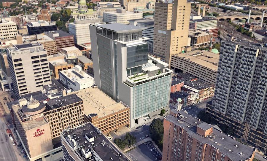The university said on March 18 that the school and the hotelier would share space on 10 floors and the remaining seven floors would be entirely for the university's use. (Harrisburg University photo)
