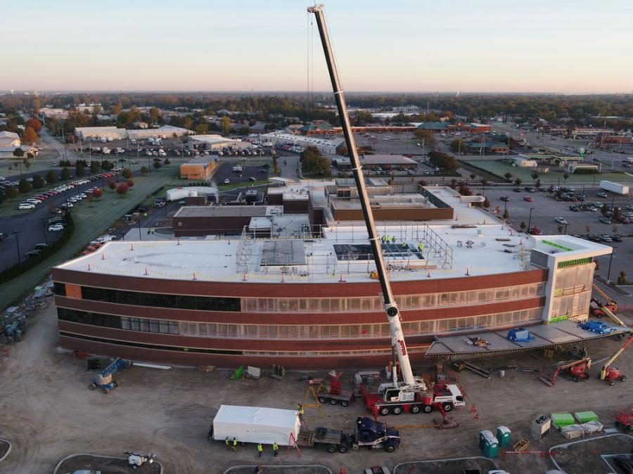 A Liebherr truck-mounted crane, from Jeffers Crane, with a 197-ft. boom, was used to place rooftop units at Mercy Health–Perrysburg Hospital. (Rudolph Libbe Inc. photo)
