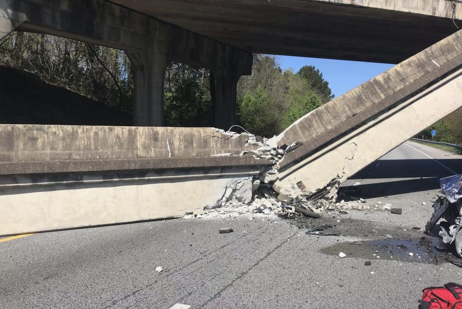 According to Flynn, the falling concrete seemed to suggest that it had recently been hit by something, but the incident is still under investigation.