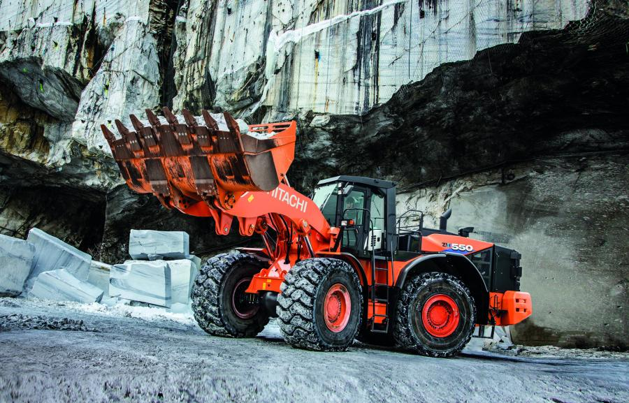 The ZW550-6 leads off the new Dash-6 series of Hitachi wheel loaders. Weighing in at 104,000 lbs. (47,173 kg) and 512 hp, and equipped with an 8.2 or 9 cu. yd. (6.2 or 6.8 cu m) bucket, it's a robust piece of production machinery built for the heaviest applications.
