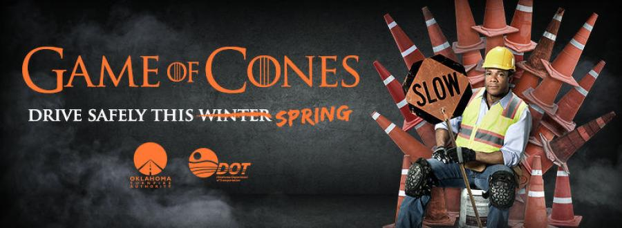 This image will be seen on digital billboards in both Oklahoma City and Tulsa metro areas April 1-14 to help spread the word about the In the Game of Cones, Safety Always Wins theme as part of the Oklahoma Department of Transportation's Your Life Matters: Drive Like It work zone safety campaign.