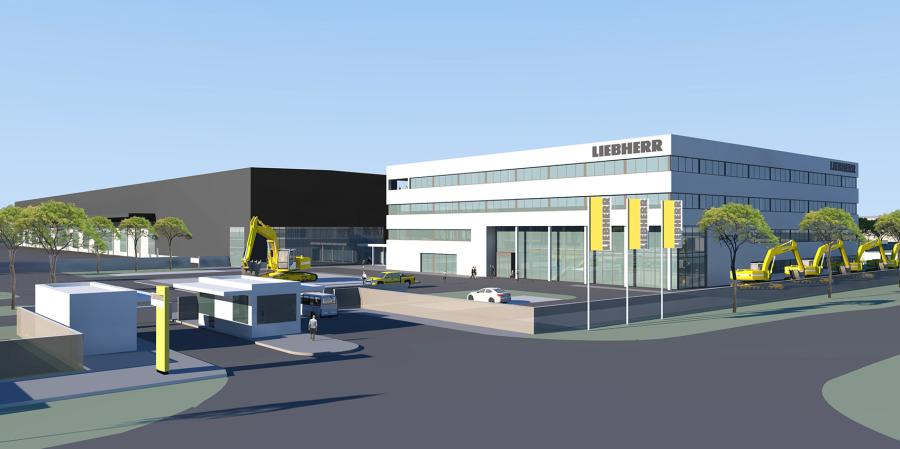 An artistic rendering of the completed Liebherr USA expansion project.