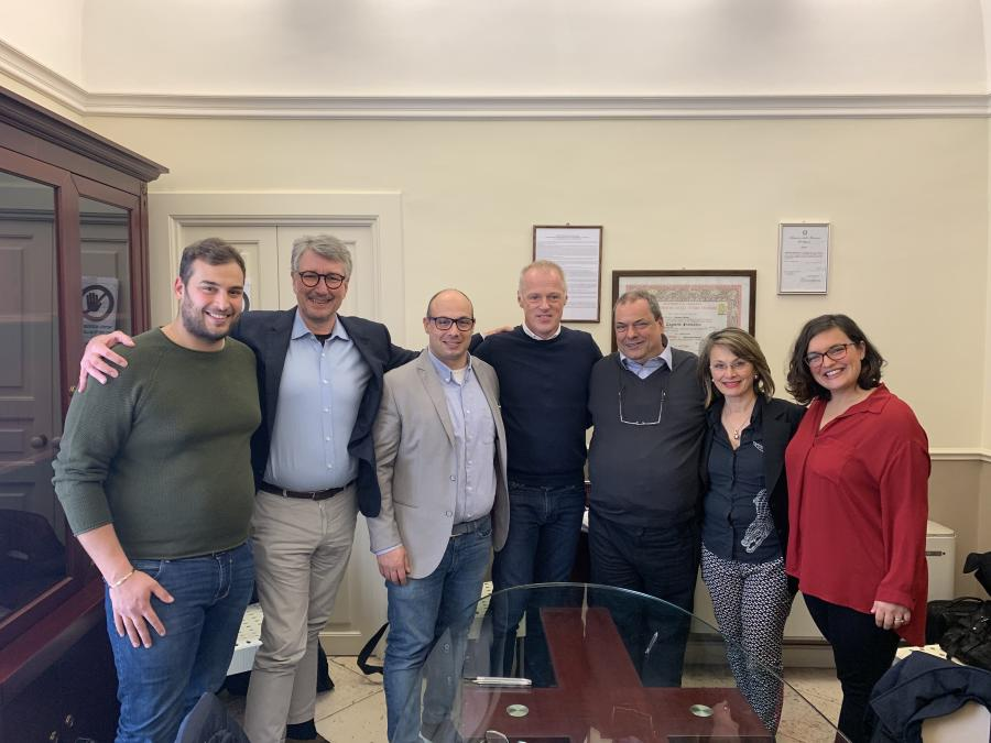 Thomas Friedrich, Kinshofer president and CEO, celebrates with Lifco and Hammer partners. (L-R) are: Onofrio Modugno, Hammer partner; Erik Gabrielson, Vinge — Lifco RA; Valerio Modugno, MD Hammer; Thomas Friedrich, Kinshofer president and CEO; Giovanni Modugno, Hammer partner; Giovanni and Valerio's sisters.