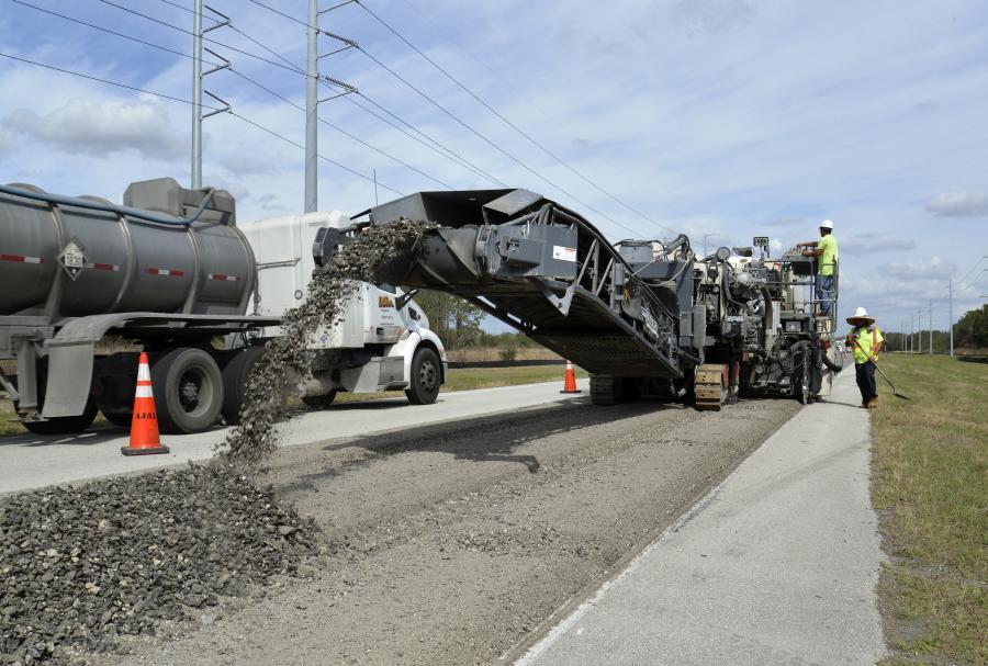 The Wirtgen 3800 CR prepulverizes Florida SR 37 in Polk County one lane at a time. (Wirtgen photo)