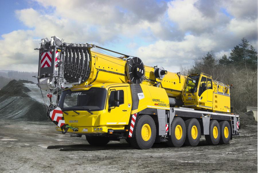 With its 257.5 ft. (78.5 m) boom, the GMK5250XL-1 has the longest main boom of any five-axle all-terrain crane and combines that with the best lifting capabilities in the industry, according to the manufacturer.