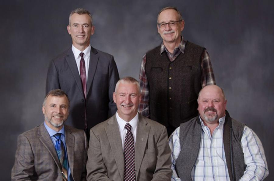The Oregon Logging Conference announces its 2019-2020 board of officers: (L-R standing): Craig Olson, second vice president and Steve Henson, third vice president. (L-R seated): Greg Stratton, president; Milt Moran, treasurer; and Scott Melcher, vice president.