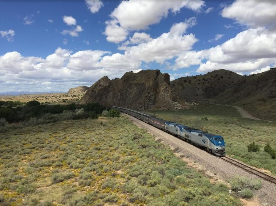 The Southwest Chief connects Chicago to Los Angeles with stops in New Mexico and Colorado and other states. (Wikipedia photo)