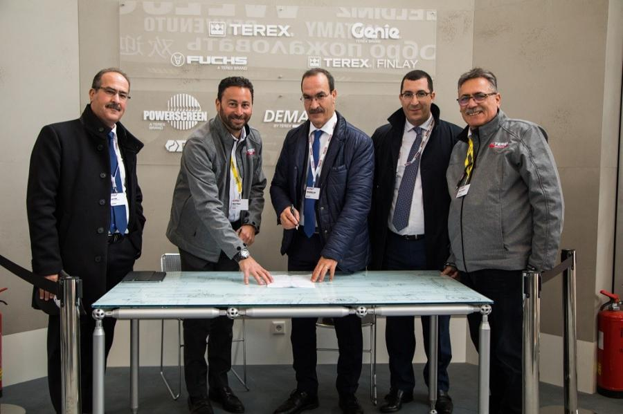 (L-R) are: Tayeb Siad, managing director, Groupe SIAD; Steve Filipov, president — Terex Cranes; Mohammed Siad, president — Groupe SIAD; Mahmoud Siad, president — GSB France; and Daniel Patalacci, general manager South Europe — Terex Cranes.