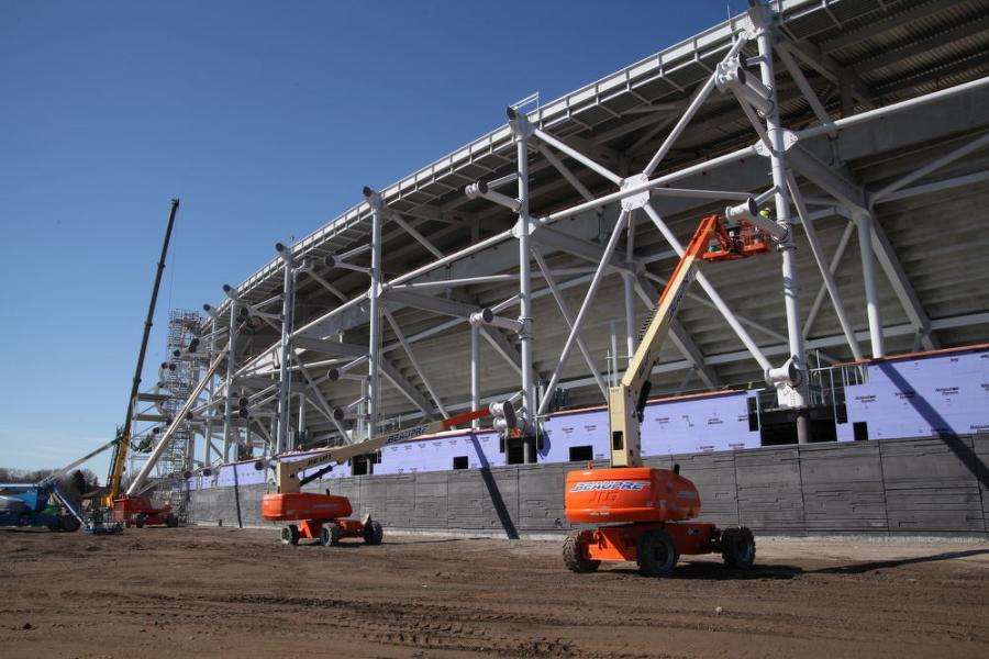 JLG lifts ring the outside of the stadium just weeks before the PTFE  fabric installation is scheduled  to begin.  (Dick Rohland photo)