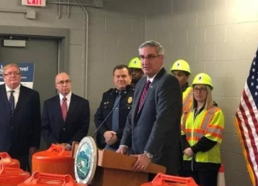 Indiana Gov. Eric Holcomb helped kick off the 2019 road construction season in Indiana.