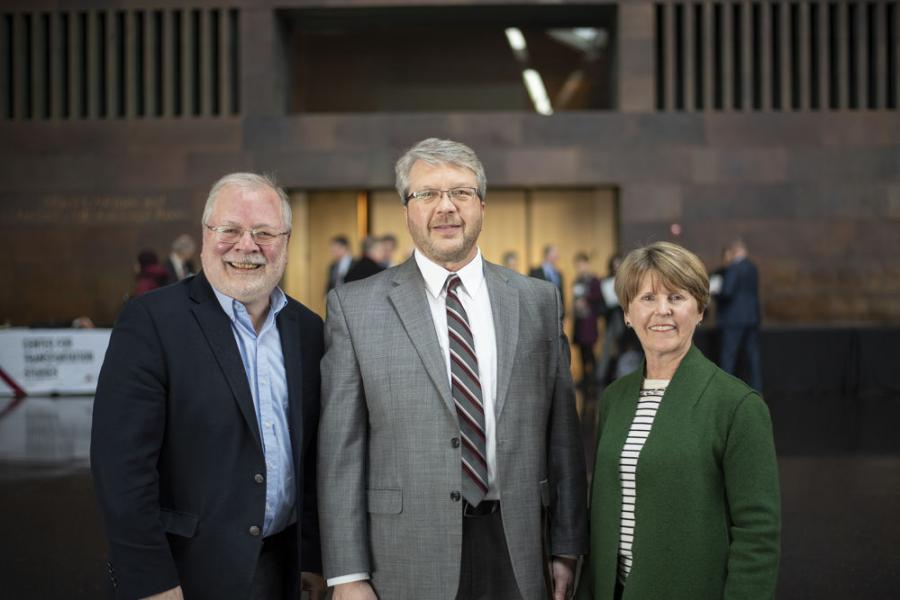 Jon Huseby (C), district engineer of MnDOT District 8, is pictured at the 2019 Annual Meeting and Awards Luncheon with Lee Munnich (L), senior fellow, State and Local Policy Program, Humphrey School of Public Affairs, and Laurie McGinnis, Center for Transportation Studies director. 