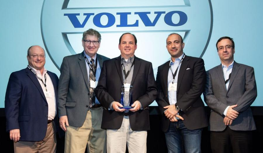 Celebrating Ascendum Machinery's Uptime Award from Volvo CE (L-R) are Kenny Bishop, Ascendum CEO; Kenneth Silverman, Volvo CE vice president, aftermarket and customer support; Chris Pierson, Ascendum vice president of operations; Mario Stoilovich, Ascendum business development director; and Nuno Colaco, Ascendum CFO.