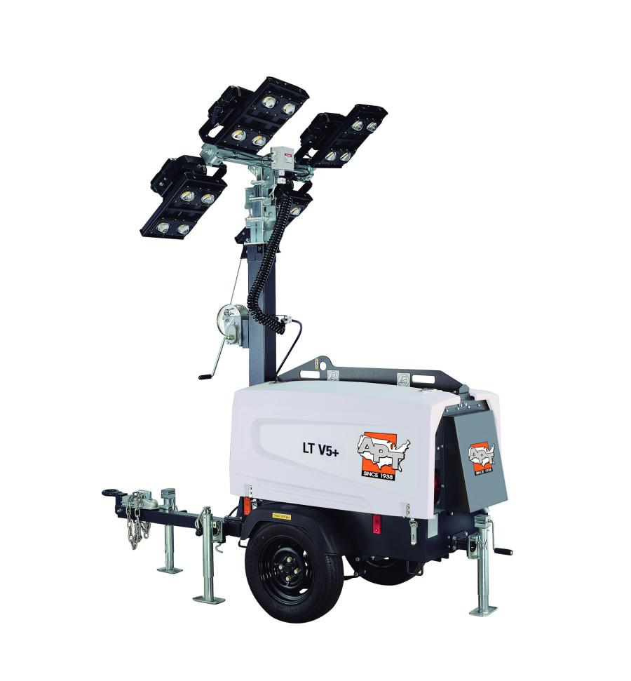 The HiLight V5+ offers high performance and luminosity with four LED lamps that are 350 watts each. With a 28-gal. fuel tank, the light tower is capable of 150 hours of operation with all four lamps before refueling, maximizing productivity and illumination time.