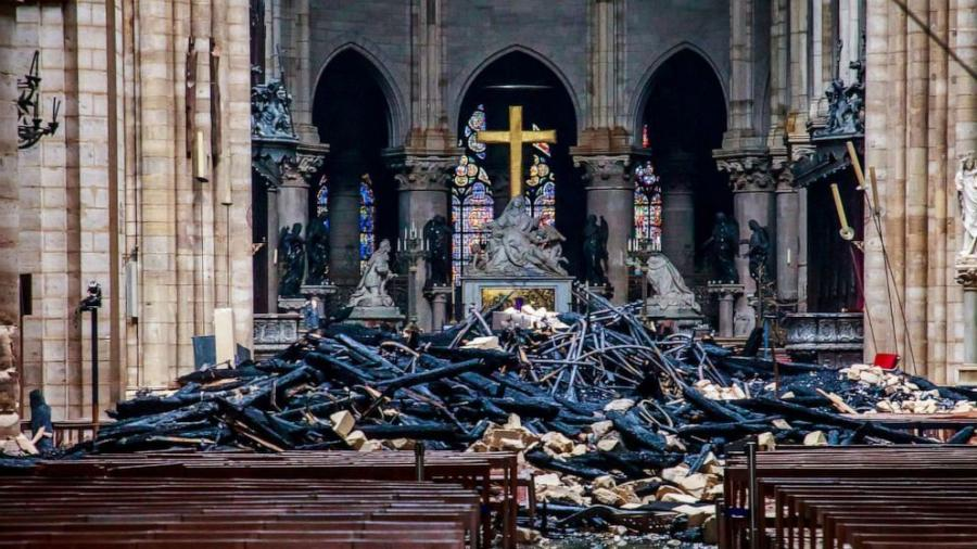 A blaze broke out April 15 at Notre-Dame Cathedral in Paris.