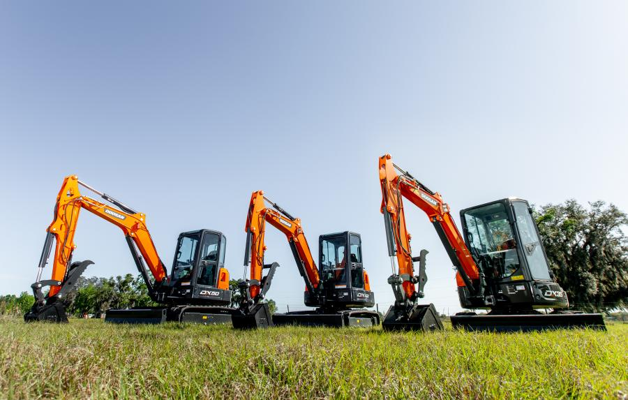 Doosan DX35-5, DX42-5 and DX50-5 mini excavators are expected to arrive at dealerships in mid-July 2019.
