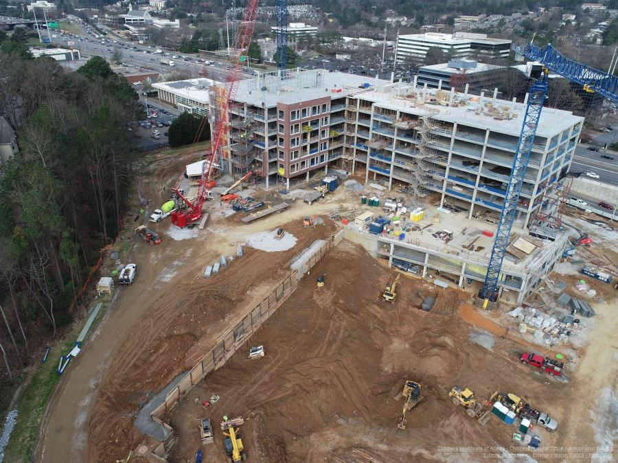 Work continues on two staff support buildings at Children's Health Care of Atlanta's new $1.5 billion campus in North Druid Hill, DeKalb County. Once the support buildings are completed, work will begin on a new 466-bed pediatric hospital.