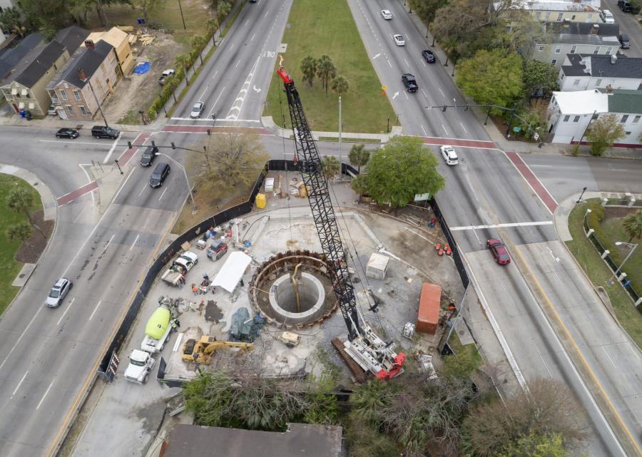 Excavation proceeds on the Coming Street retrieval shaft in Charleston. (Jay Dee Contractors photo)