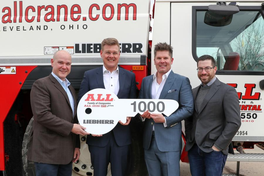Members of the Liebherr and All Crane team recently celebrated the handover of the 1,000th LTM 1200-5.1. (L-R) are Brian Peretin, Liebherr's general manager of sales of mobile and crawler cranes; Reinhold Breitenmoser, regional sales manager of Liebherr Werk, Ehingen, Germany; Michael Liptak, CEO and president of ALL Crane; and Lawrence Liptak, corporate controller, ALL Crane.