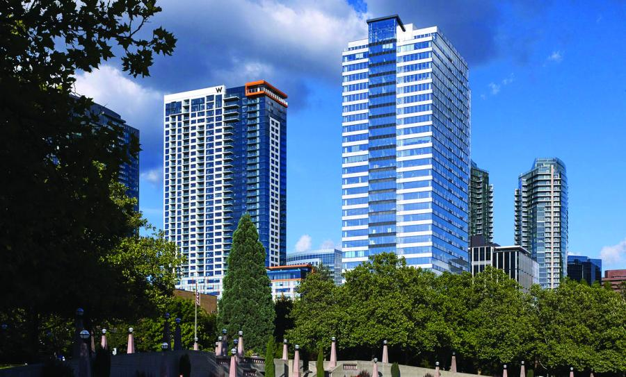 A combined hotel and luxury apartment tower and a new office high rise are included in the Lincoln Square Expansion II project in downtown Bellevue, Wash.
