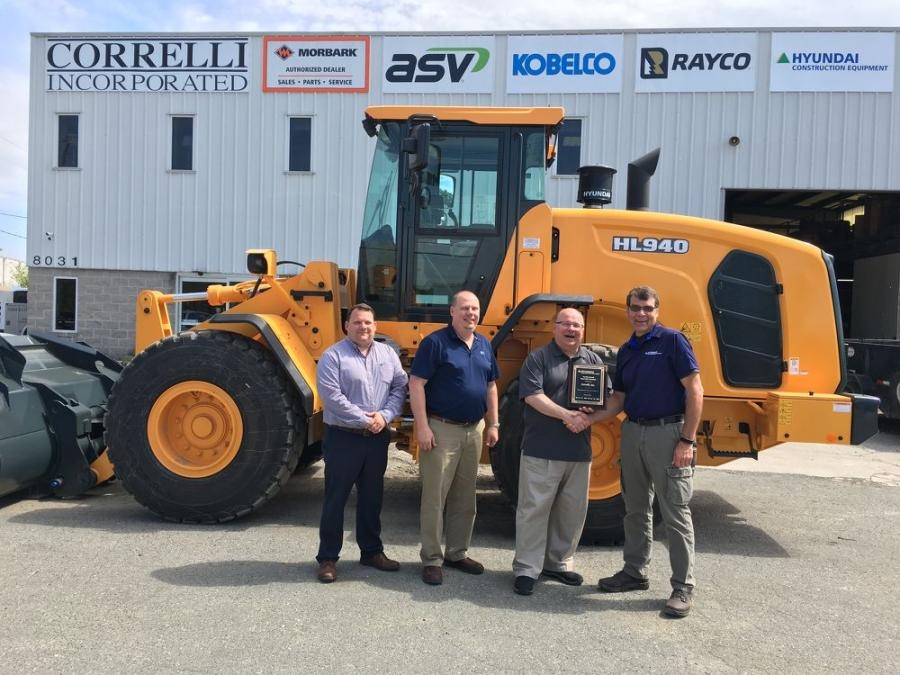 (L-R) are: Ryan Correlli, general manager; Bill Correlli, sales and parts manager; Patrick Correlli, president; and Bill Klein, HCEA district manager — Northeast.