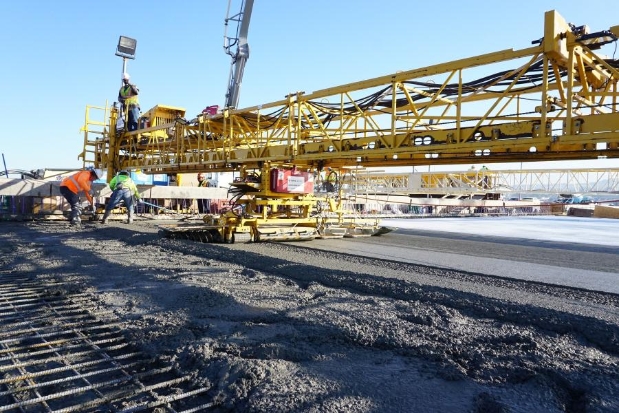 Shimmick Construction paved the cable-stayed Gerald Desmond Bridge in Long Beach, Calif., with its Terex Bid-Well 3600 and 2450 pavers.