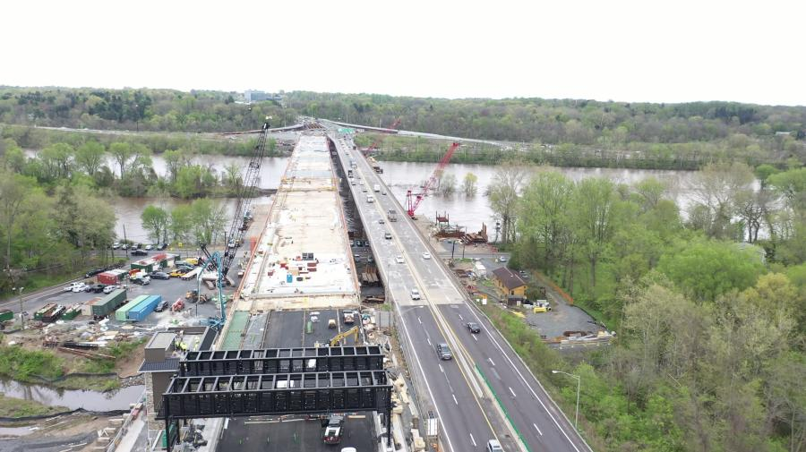 Concrete pouring for the new Scudder Falls Bridge's first span began on March 14. A series of subsequent concrete deliveries occurred on various weekday mornings based on weather, temperature, work staging and concrete curing considerations.