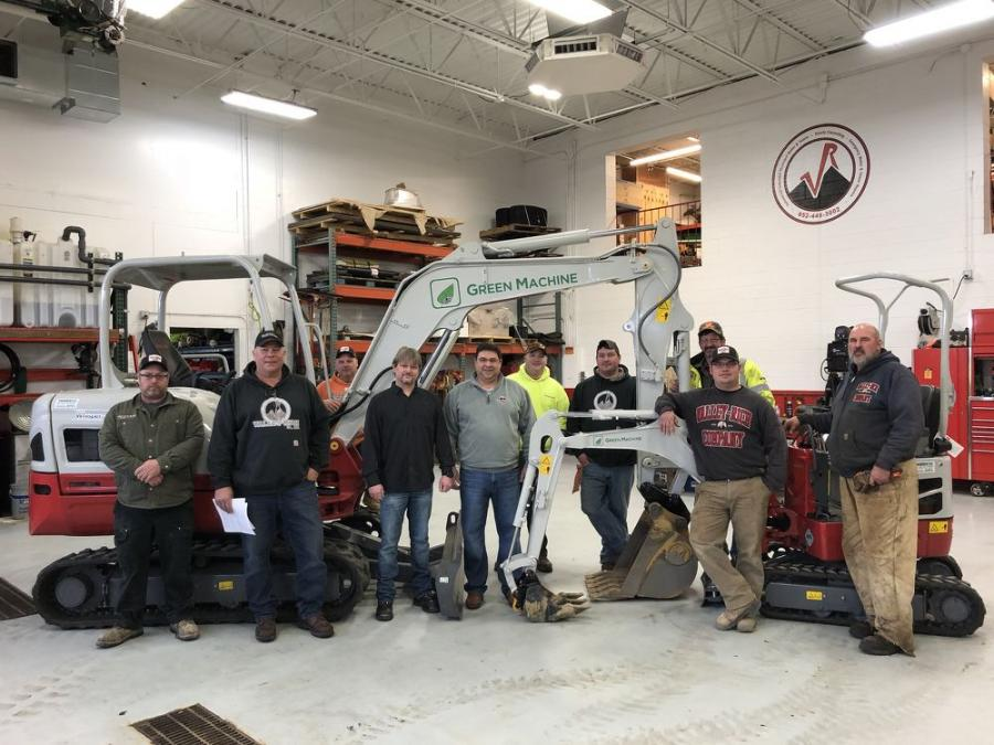 Standing in front of Valley Rich Co.'s Takeuchi Green Machines (L-R) are employees Jason Stiller, Bob Carsley and Chuck Wilke; owners Ted Olson and John Miklya; Sean Koehn of Daley Electric; and Valley Rich employees Nolan Weber, Bernie Frandrup, L.J. Laganiere and Tom Johnson.