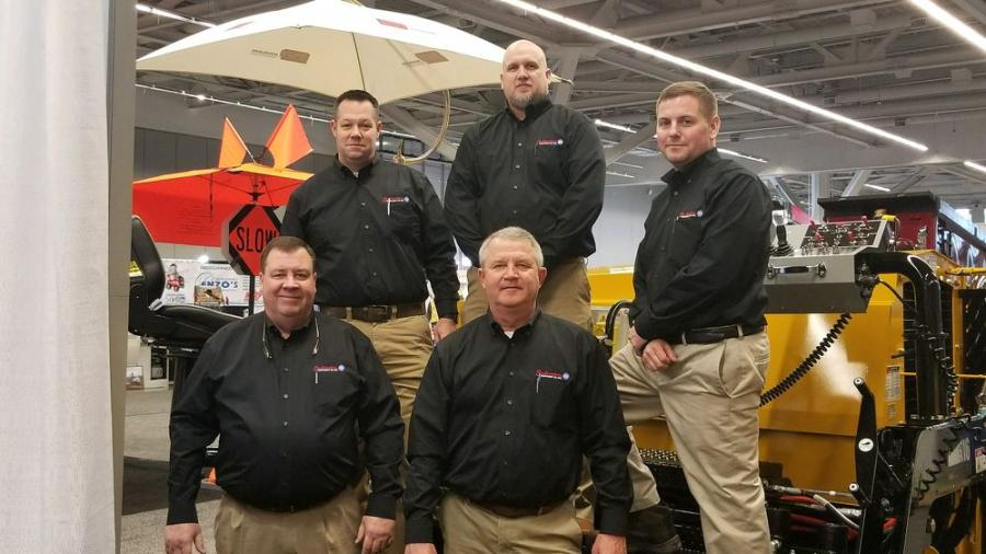 Now offering Mauldin Paving Products at Southeastern Equipment's Indiana locations are (L-R back) Chris Kurz, North Canton branch manager; Chad Webb, road building support specialist; Mike Kress, mentor branch manager; and Scott Hartzell (L front), sales rep North Canton, and Doug Neff, paving division manager.