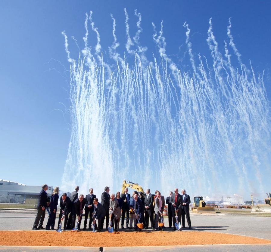 Fireworks accompanied the groundbreaking ceremony for Airbus's new A220 assembly line in Mobile.