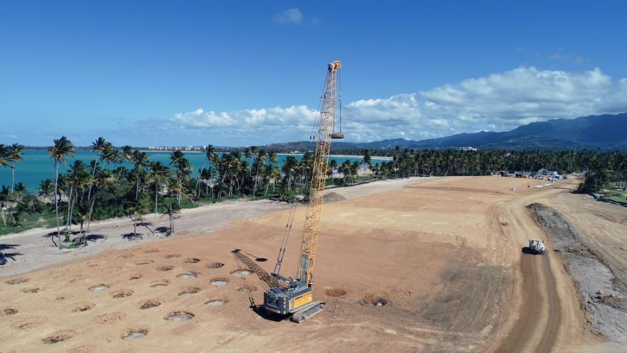 Densification Inc. chose a Liebherr HS 8100 crane to perform dynamic soil compaction work on a luxury residential project in Puerto Rico.