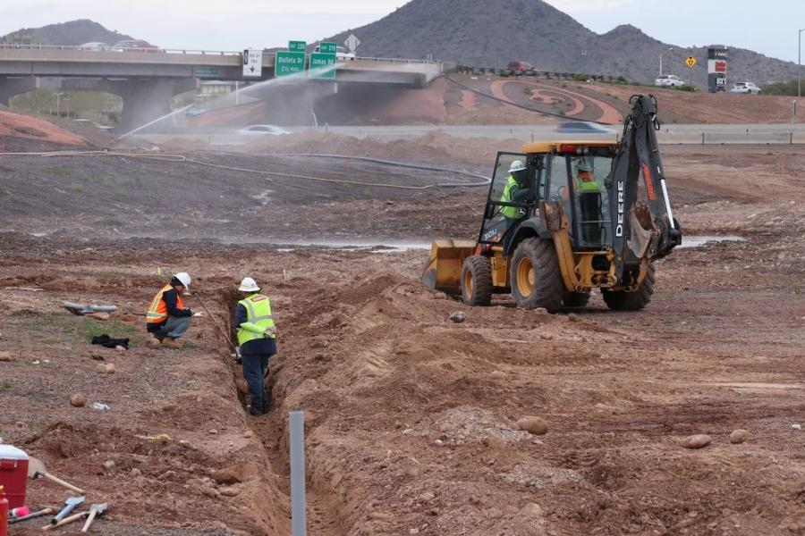 By mid-March, a new concrete box drainage culvert was installed beneath Pinnacle Peak Road, just to the east of I-17. Pinnacle Peak Road was closed in that area, as of mid-February.