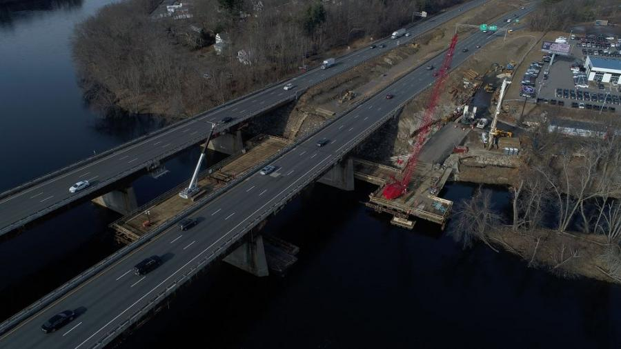 An aerial view of trestle construction to provide access for Stage 1 bridge construction.