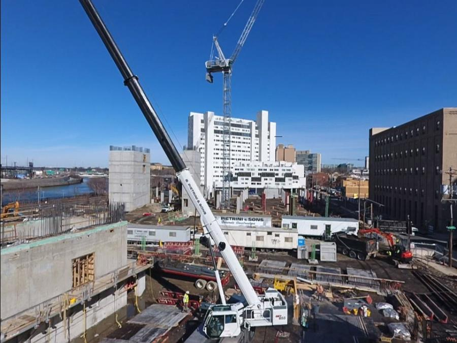 The GRT655, which features a 114 ft. (34.7 m) boom and a 55 ton (50 t) lifting capacity, is helping construct the first few levels of a 28-story and a 32-story residential building in Philadelphia.