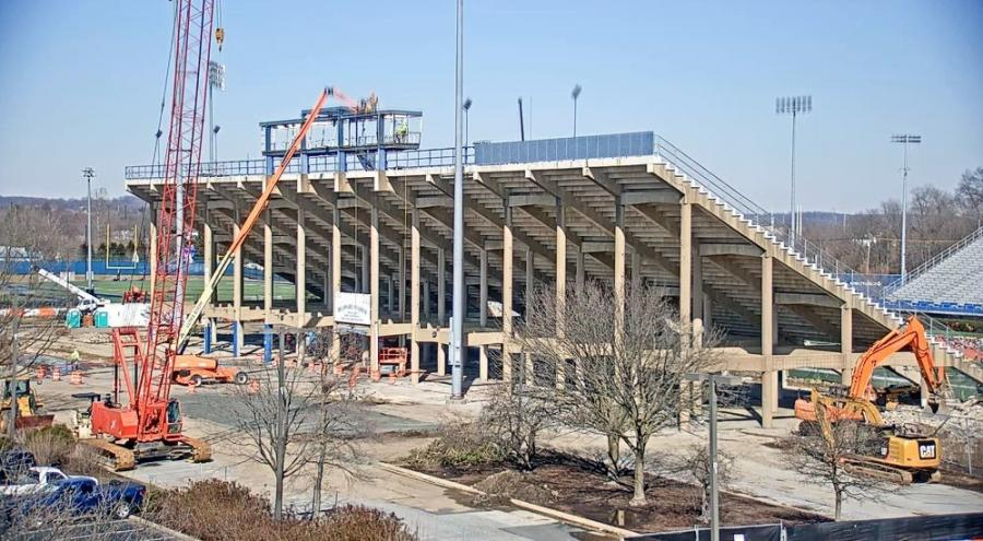 Work on stadium seating is currently taking place. Construction should be completed this summer.