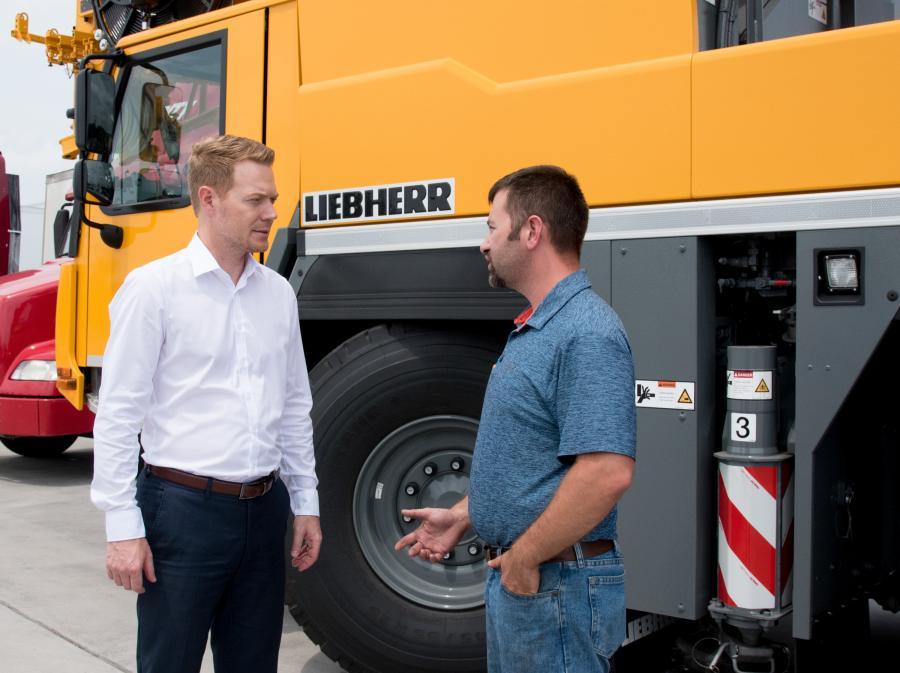 Daniel Pitzer of Liebherr (L) and Paul Prillaman, owner of Prillaman's Crane & Rigging Co.
