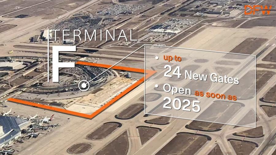 The identified site south of Terminal D provides significant flexibility for phasing in the number of gates for Terminal F, with a long-term projection of up to 24 gates, as demand for additional facilities is warranted.