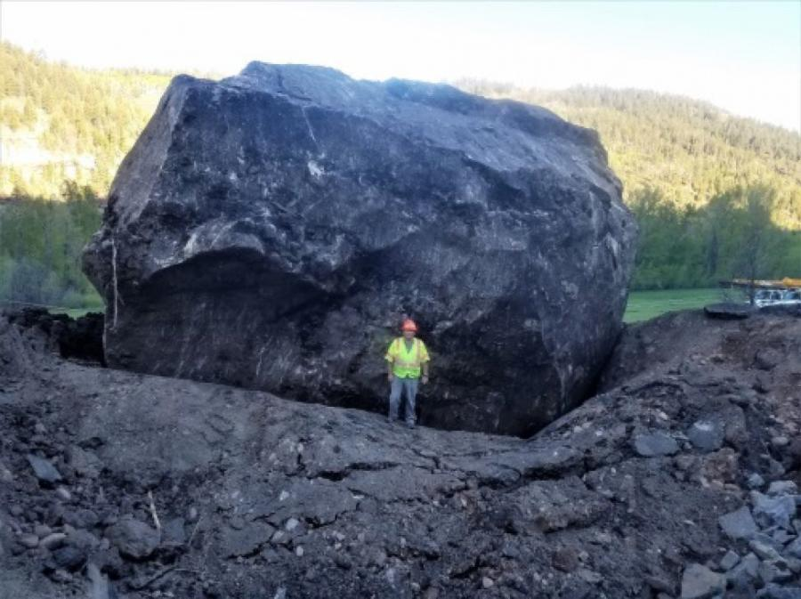 """The massive boulder, which is the size of a house, is going to become a new state landmark called """"Memorial Rock.""""    (Colorado DOT Photo)"""
