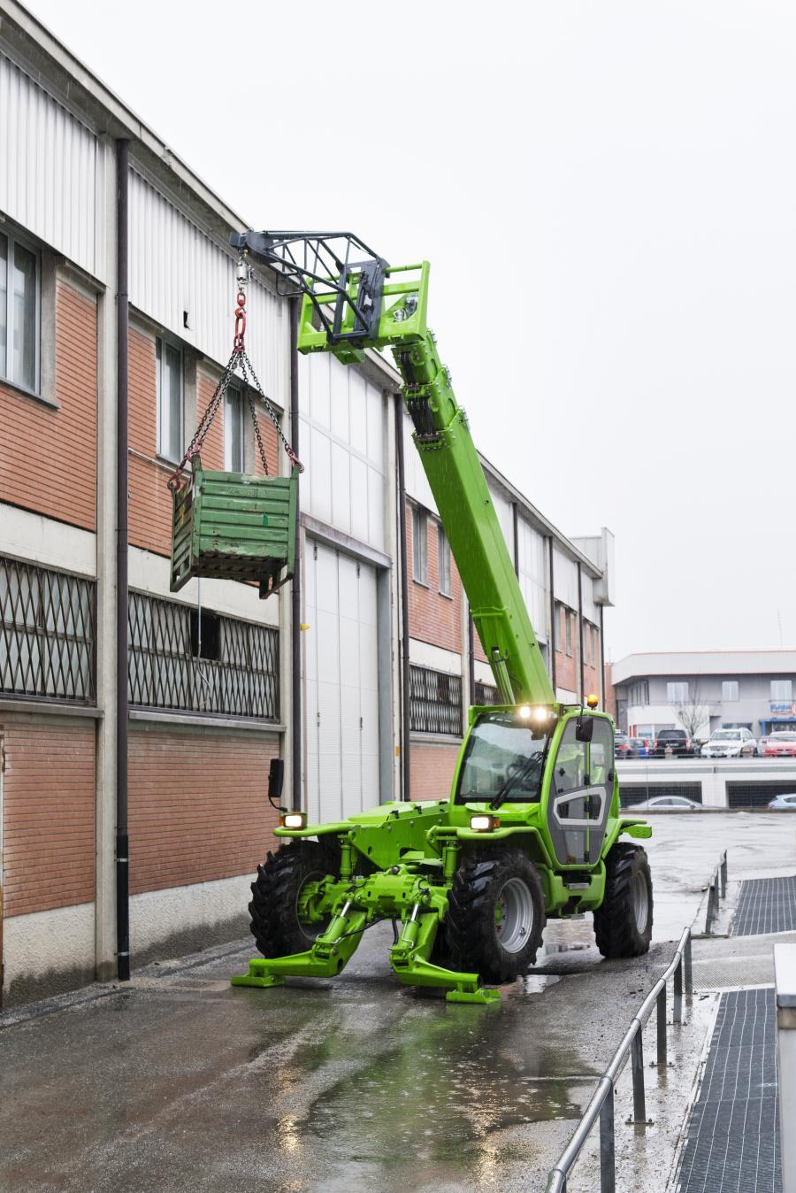 Lighter in mass than similar machines (unladed weight is 29,300 lbs. [13,290 kg]) the P50.18Plus offers high ground clearance, hydrostatic transmission, 100HP Deutz engine, and the Merlo Tac-lock system for simplified attachment change out.
