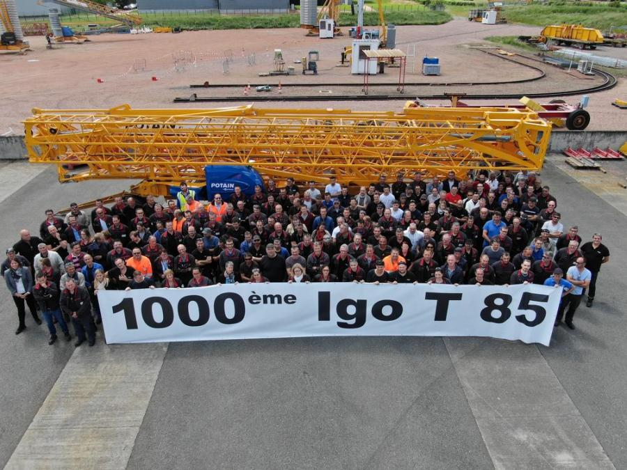 Manitowoc's manufacturing facility in Charlieu, France, has shipped its 1,000th Igo T 85. The landmark self-erecting crane has been sold to a customer in Benelux.
